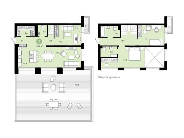 Планировка 3-комн 286,79, 286,8 м²