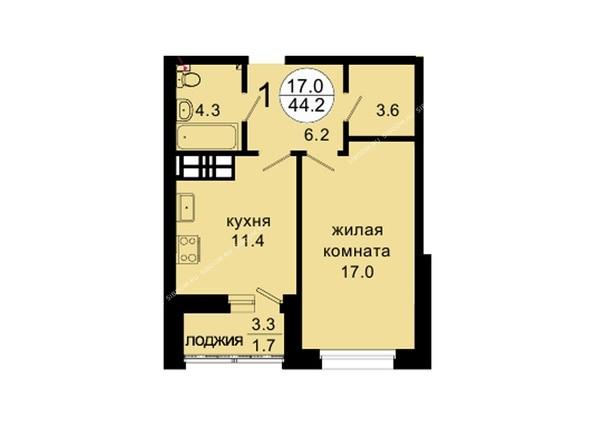 Планировки Жилой комплекс НОВАЯ ПАНОРАМА , дом 3 - Планировка однокомнатной квартиры 44,2 кв.м
