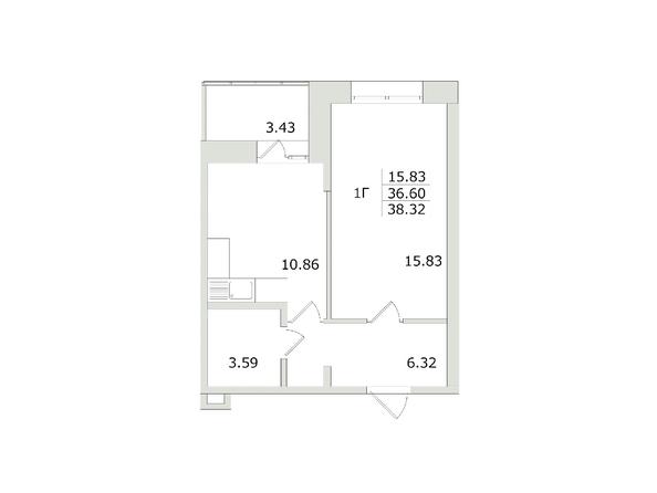 Планировки Жилой комплекс СЕМЬЯ, 1 оч - 1-комнатная 38,32 кв.м
