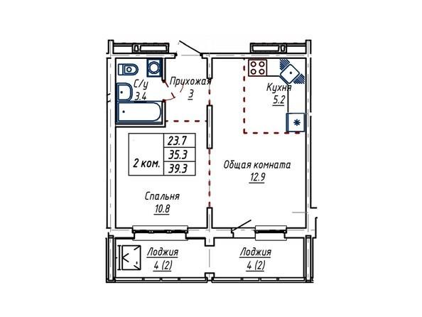 Планировки Жилой комплекс АКВАРИУМ - Планировка двухкомнатной квартиры 39,3 кв.м