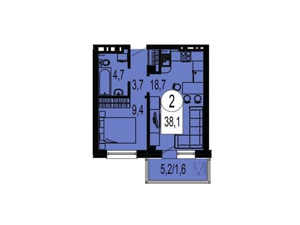 Планировка двухкомнатной квартиры 38,1 кв.м