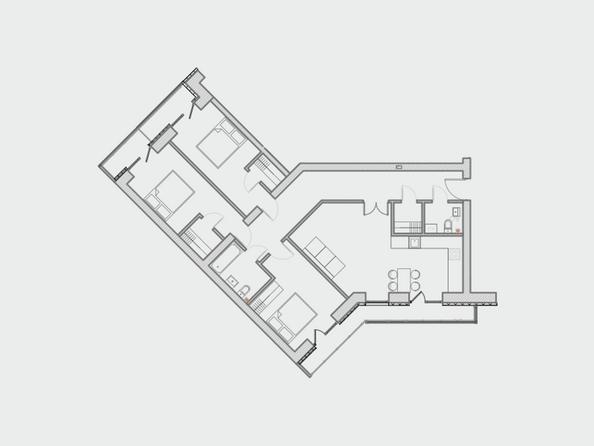 Планировки Жилой комплекс ПРЕОБРАЖЕНСКИЙ, дом 4 - Планировка четырехкомнатной квартиры 108,8 кв.м