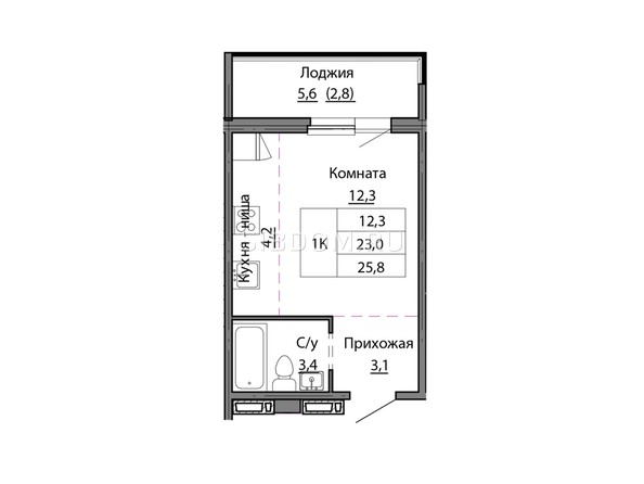 Планировки МОТОР, корпус 1 - Планировка однокомнатной квартиры 25,8 кв.м