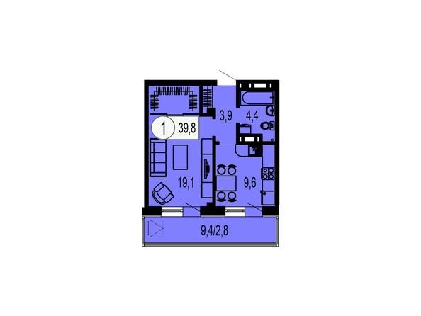 Планировка однокомнатной квартиры 39,8 кв.м