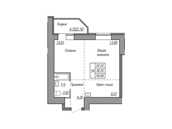 Планировки МАЯКОВСКИЙ - 2-комнатная 40,66 кв.м.