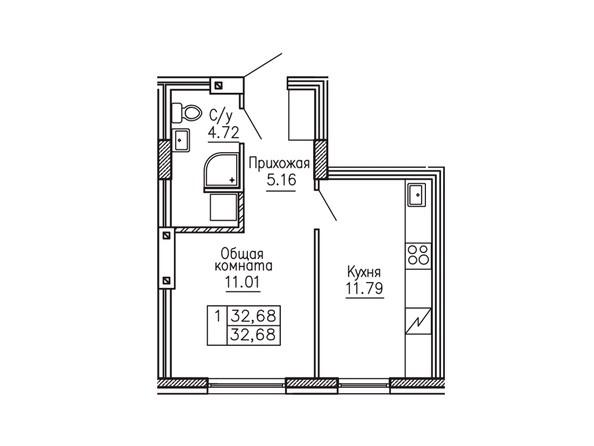 1-комнатная 32.68 кв.м