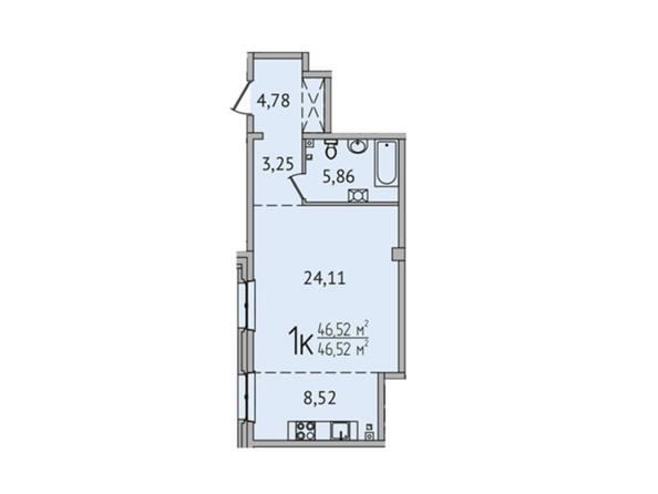 1-комнатная 46,52 кв.м