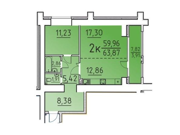 Планировка 2-комн 59,96, 63,87 м²