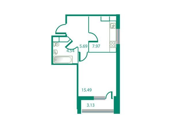Планировки Жилой комплекс ИЗУМРУДНЫЙ БЕРЕГ, дом 1.1 - Планировка однокомнатной квартиры 35,16 кв.м