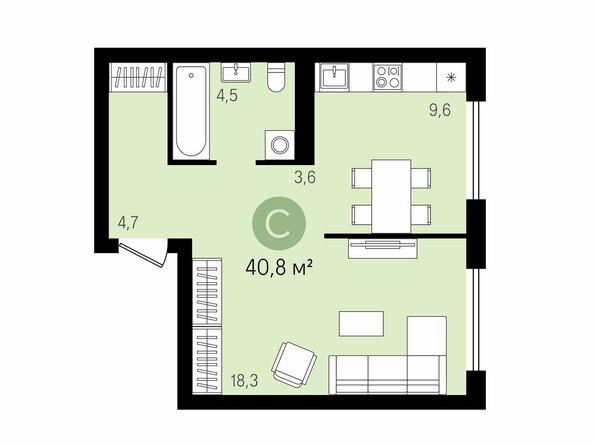 Планировки Жилой комплекс На Декабристов, дом 5 - 1-комнатная 40,8 м2