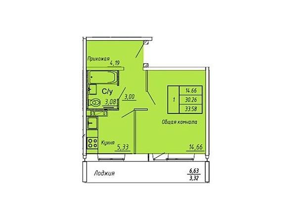 Планировки Жилой комплекс ЮНОСТЬ, дом 2 - Планировка однокомнатной квартиры 33,58 кв.м