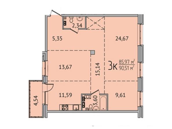 3-комнатная 90,29 кв.м