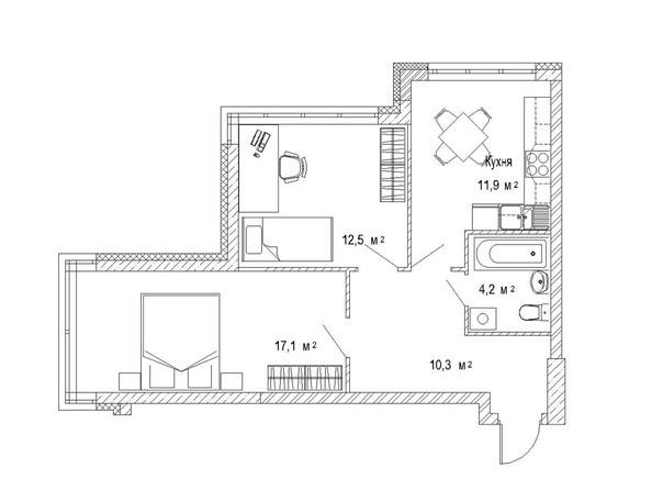 Планировка двухкомнатной квартиры 57,8 кв.м