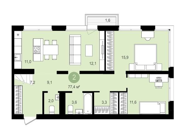 Планировка 2-комн 77,4, 77,43 м²