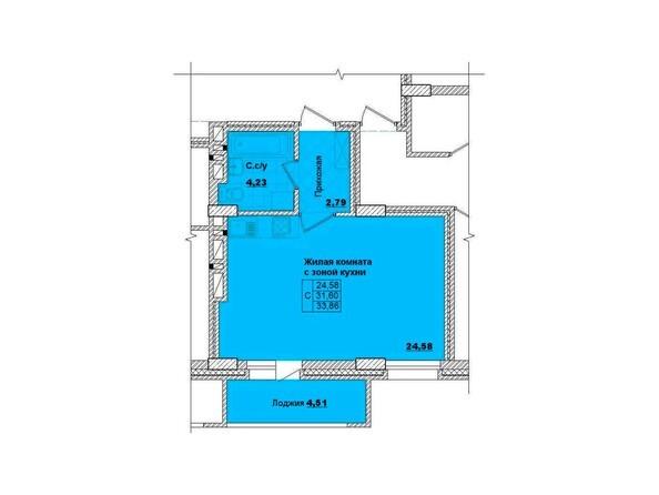 Планировки Жилой комплекс НА КОРОЛЁВА, 2 оч, дом 1 - Планировка однокомнатной квартиры 33,86 кв.м.