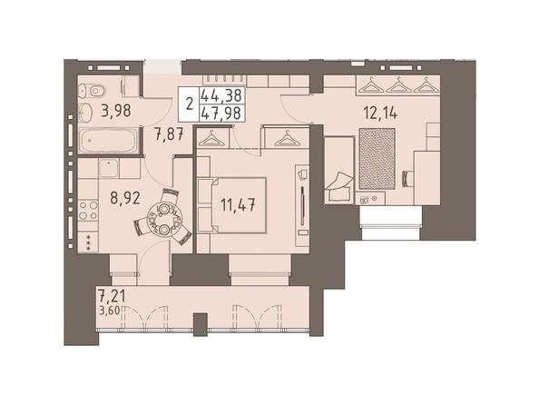Планировки ВАВИЛОВСКИЙ ДВОРИК - 2-комнатная 47,98 кв.м