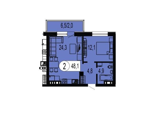 Планировка двухкомнатной квартиры 48,1 кв.м