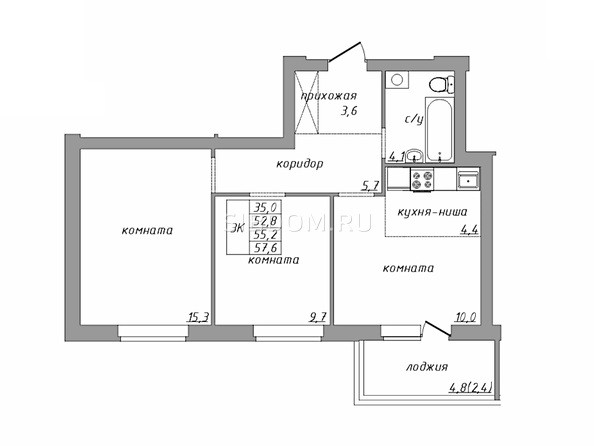 Планировка 3-комн 57,6 м²
