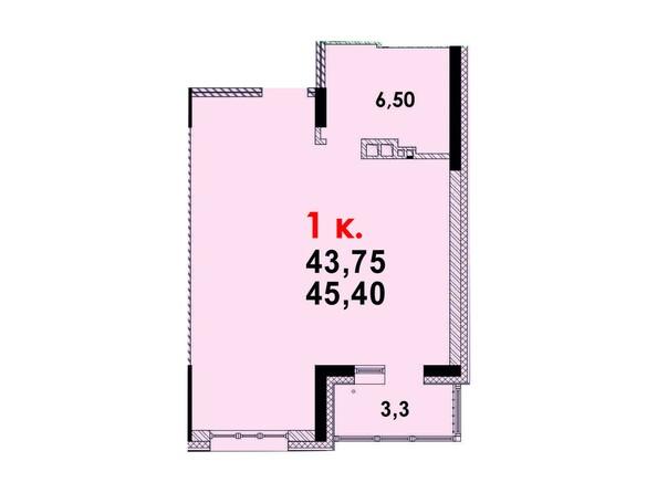 Планировка 1-комн 45,38 м²