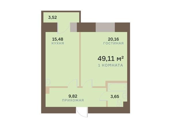 Планировка 1-комн 49,11 м²