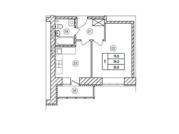 Планировки Жилой комплекс ВЕРХНИЙ БУЛЬВАР, 7 дом, б/с а,б,в - Планировка однокомнатной квартиры 35,8 кв.м