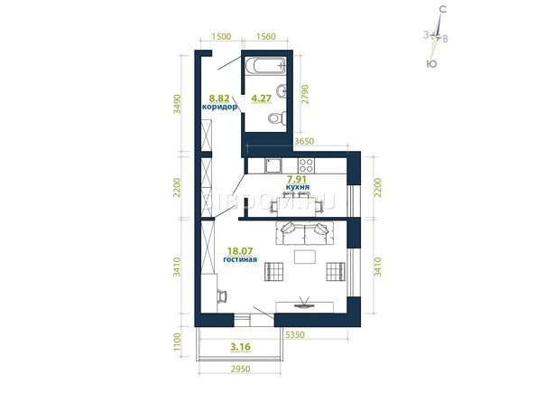 Планировка 1-комн 42,23, 43,17 м²