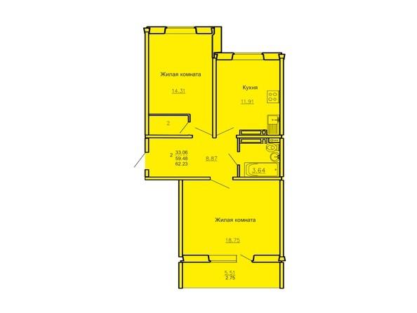 Планировка 2-комн 62,23 м²