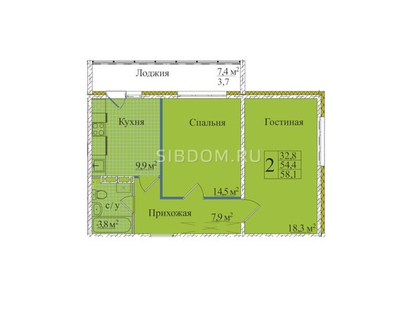 Планировки Жилой комплекс КЕМЕРОВО-СИТИ, 37, б/с 4,5  - Планировка двухкомнатной квартиры 58,1 кв.м
