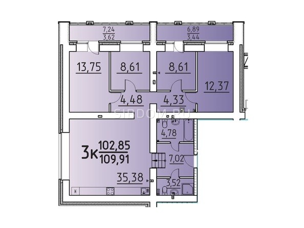 Планировка 3-комн 109,91 м²