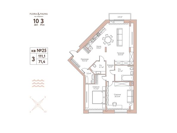 Планировки Жилой комплекс Эко-квартал Flora&Fauna (Флора и Фауна), блок Д - 3-комнатная 111,1 кв.м