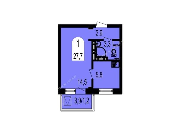 Планировки Жилой комплекс ТИХИЕ ЗОРИ, дом 1 (Красстрой) - Планировка однокомнатной квартиры 27,7 кв.м