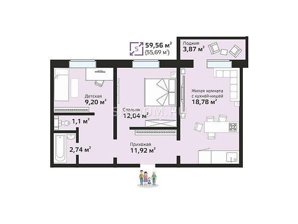 Планировки ЧИСТАЯ СЛОБОДА, дом 17 - Планировка трехкомнатной квартиры 59,56 кв.м