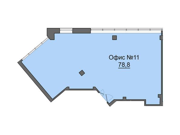 Планировки Жилой комплекс Офисно-деловой центр БИЗНЕС ПОРТ, SKY SEVEN - Третий этаж. Планировка офиса 78,8 кв.м
