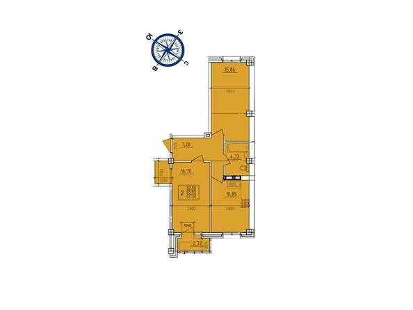 Планировки Жилой комплекс ИРКУТСКИЙ ДВОРИК-2, дом 3 (4,5,6,10 б/с) - Планировка двухкомнатной квартиры 57,34 кв.м