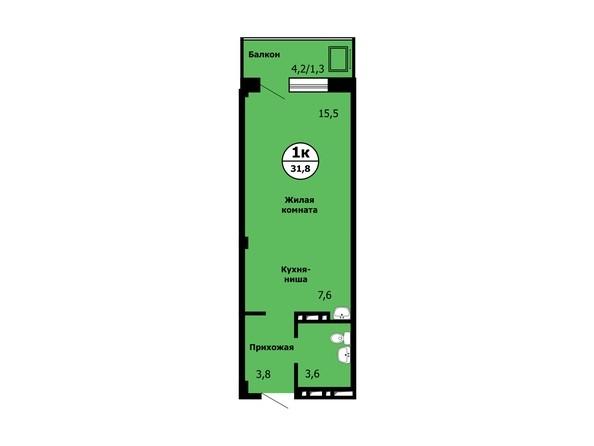Планировка Студия 31,8 - 32,2 м²
