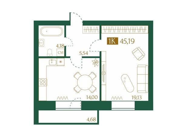 Планировка 1-комн 45,19 м²