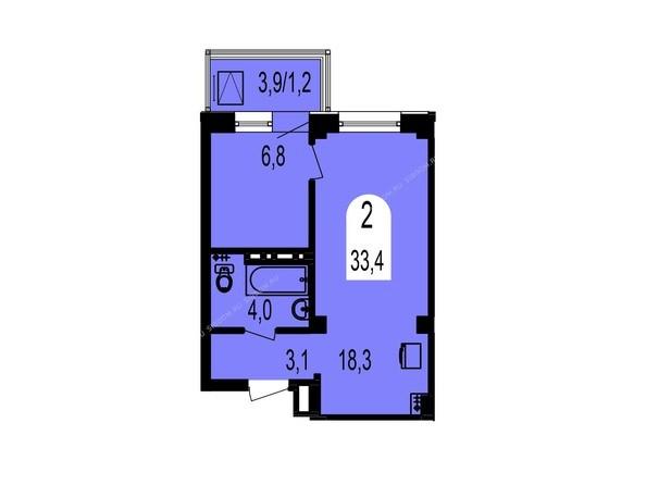Планировки Жилой комплекс ТИХИЕ ЗОРИ, дом 1 (Красстрой) - Планировка двухкомнатной квартиры 33,4 кв.м