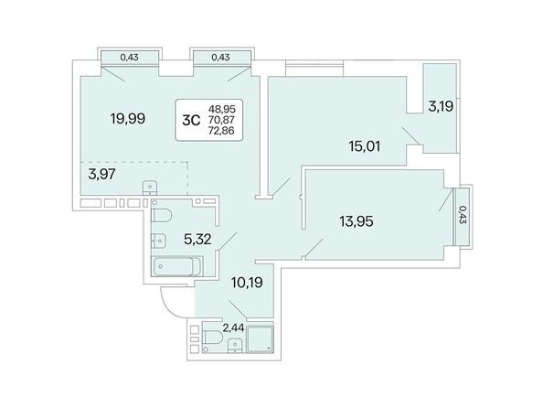 Планировка 3-комн 72,72, 72,86 м²
