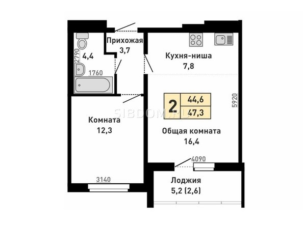 Планировка 2-комн 44,6, 47,3 м²