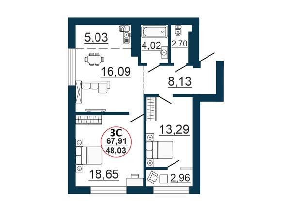 Планировка 3-комн 67,86, 67,91 м²