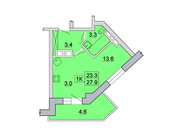 Планировка 1-комн 27,9 м²