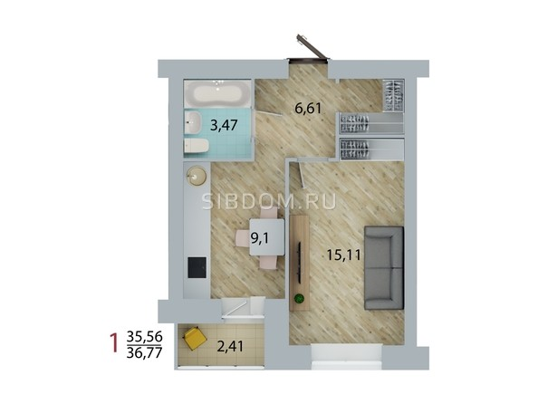 Планировка 1-комн 36,38, 36,77 м²
