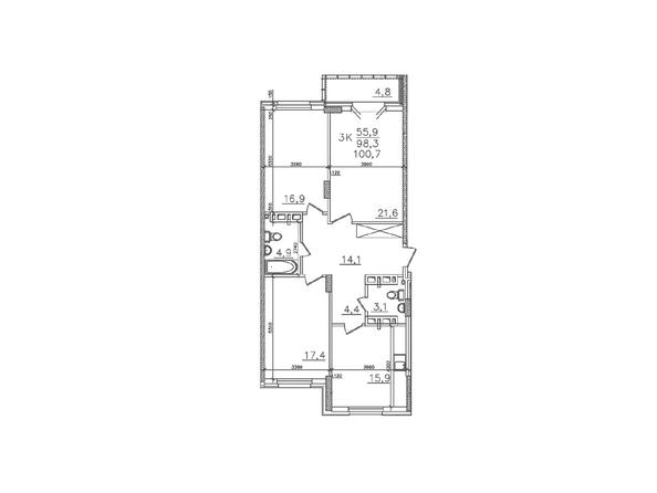 Планировки Жилой комплекс ЗОЛОТАЯ НИВА, дом 1 - Планировка трехкомнатной квартиры 98,3 кв.м