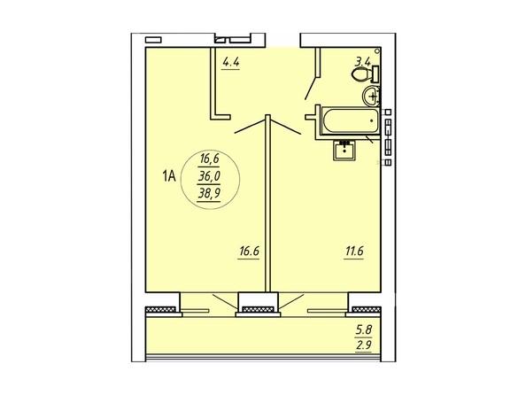 1-комнатная 38,9 кв.м