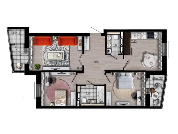 Планировка трехкомнатной квартиры 88,95 кв.м