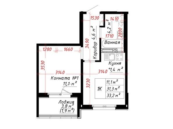 Планировка 1-комн 33,2 м²