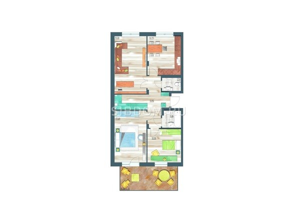 Планировки Жилой комплекс ЖИВЁМ эко-район, 3 квартал, дом 3 - Планировка трехкомнатной квартиры 87,21 кв.м