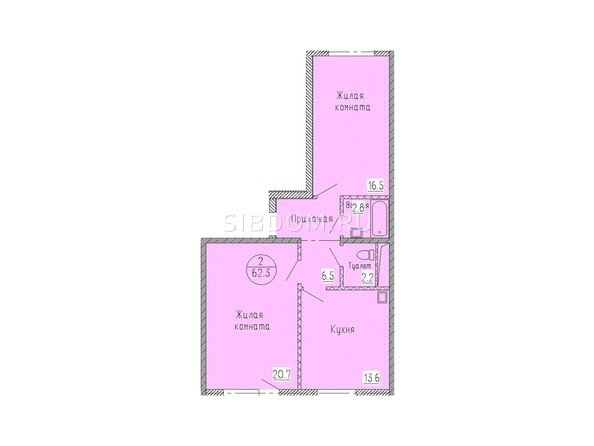 Планировка 2-комн 62,3 м²