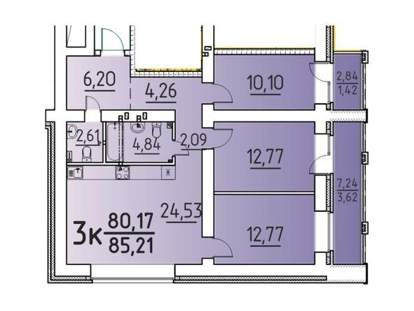 Планировка 3-комн 85,21 м²
