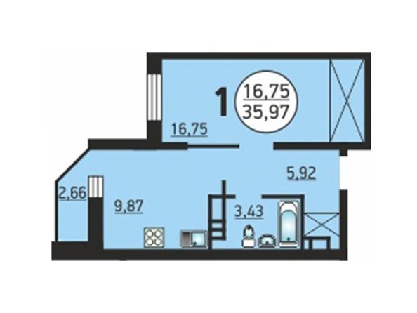 1-комнатная 35,97 кв.м